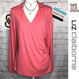 Liz Claiborne coral pink long sleeve vneck top